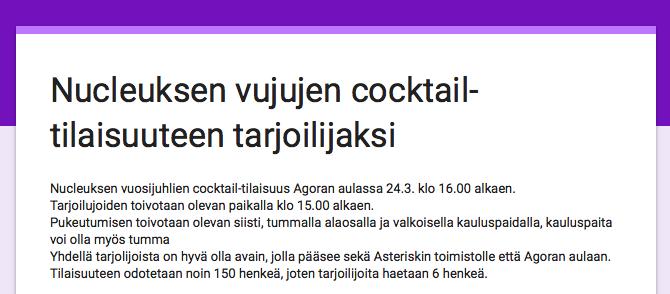 Nucleuksen vujujen cocktail-tilaisuuteen tarjoilijaksi
